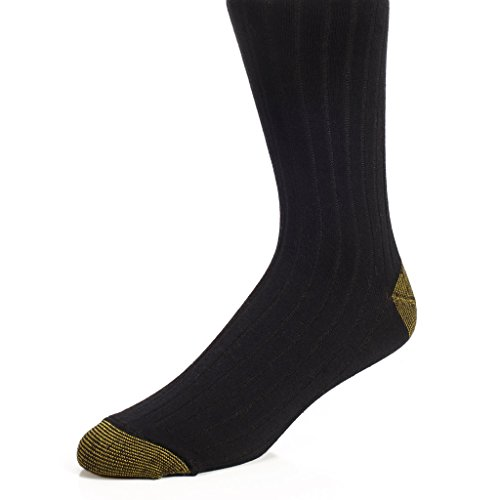 """The Right Fit Men""""s 98% Cotton Casual Work Loafer Ribbed Crew Style Dress Socks- Black- Size 11-13- 6 Pack"""