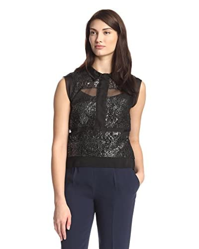 Rebecca Taylor Women's Sleeveless Foil Lace Top