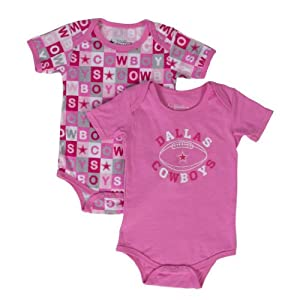 Dallas Cowboys Pink Honey Bun Bodysuit 2pk Onesie Set by Dallas Cowboys Team Apparel