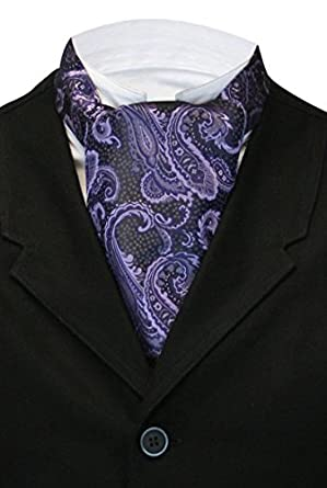 Edwardian Men's Accessories Historical Emporium Mens Satin Vivid Paisley Ascot $25.95 AT vintagedancer.com