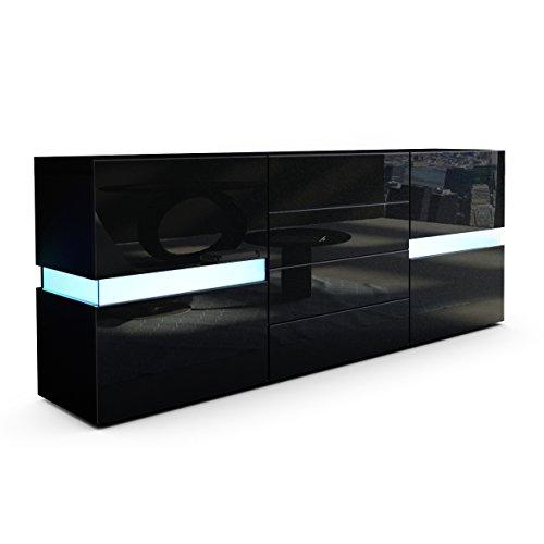 Sideboard-Kommode-Flow-Korpus-in-Schwarz-matt-Front-in-Schwarz-Hochglanz-inkl-LED-Beleuchtung