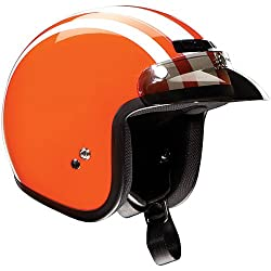 Z1R Retro Adult Jimmy Harley Cruiser Motorcycle Helmet - Orange/White
