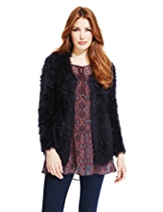 Indigo Collection Open Front Fluffy Cocoon Cardigan