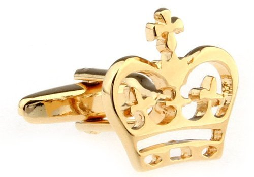 MFYS MFYS Classic Gold Plated Crown Cufflinks For Men With Box