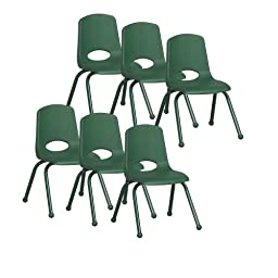 ECR4Kids School Stack Chair with Powder Coated Legs/ Ball Glides, 14\