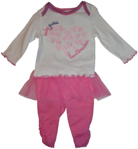 Infant Girl'S Guess 2 Piece Outfit Long Sleeve Shirt And Pants With Tutu Pink/White (3-6 Months) front-12660