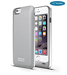 iPhone 6 Battery Case, [Apple MFI certified] Nexcon® iPhone 6 Battery Case (4.7 Inches) - 3100mAh External Protective iPhone 6 Charger Case / iPhone 6 Charging Case Extended Backup Battery Pack Cover Case Fit with Any Version of Apple iPhone 6 (iPhone 6 Battery Pack / iPhone 6 Power Case / iPhone 6 USB Juice Bank / iPhone 6 Battery Charger) (Silver)