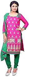 Raahi Unstitched Pink Cotton Embroidered Dress Material - Salwar Suit