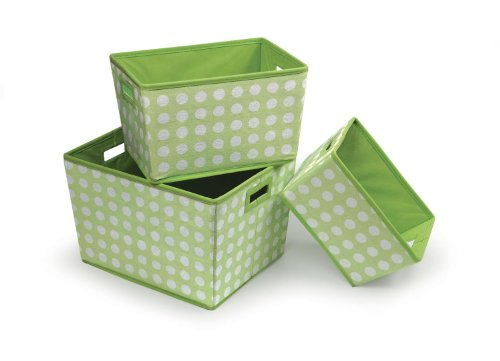 Badger Basket 3 Pack Polka Dot Nesting Trapezoid Shape Folding Baskets, Sage front-1069030