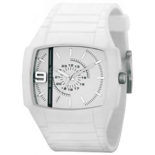 Diesel DZ1321 Unisex White Rubber Strap White Dial Watch