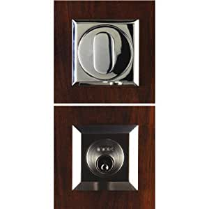 "SD Square Deadbolt Set Backset Size: Standard (2-3/8""), Finish: Polished Stainless Steel, Function: Double Cylinder"