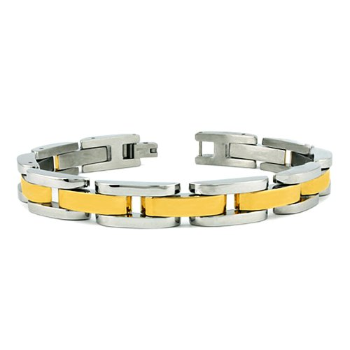 Stainless Steel Men's Gold Plated Link Bracelet (11mm Wide) 8.5 Inches
