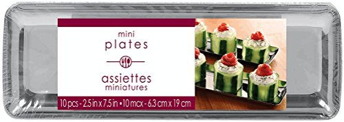 Washable Plastic Mini Rectangular Trays Perfect for Appetizers and Desserts (10 Pack), -2-1/2 x 7-1/2, Silver