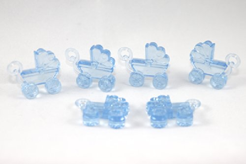 "Blue 1 1/4"" Acrylic Baby Carriage Baby Shower Favors 144 Pieces front-978133"