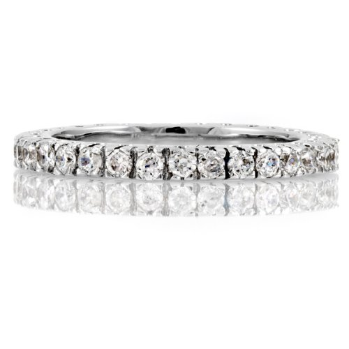 Selma's Thin Stackable CZ Eternity Band Ring Sterling Silver Size 10