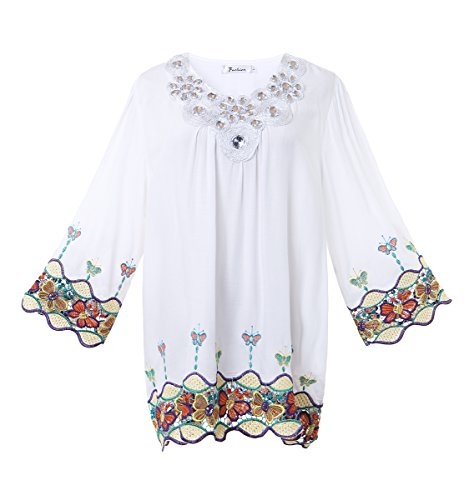 Olrain Women Vintage Butterfly Embroidery Beaded Collar Loose Blouse Tops White Large (Vintage Women Tops compare prices)