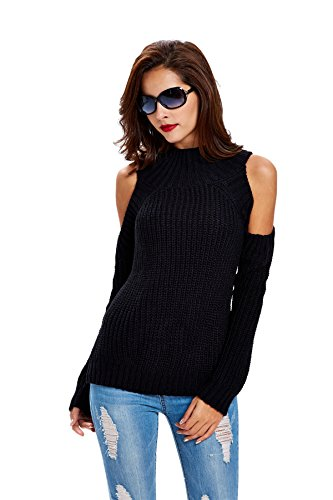 Dressray Women's High Neck Cold Shoulder Cable Knitted Sweater Pullover - Black,Black,One Size