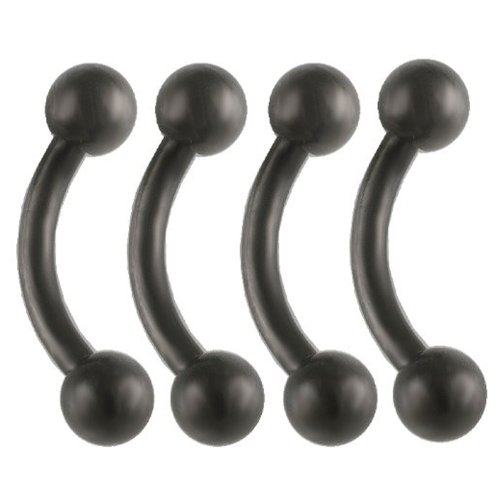 16G 16 Gauge (1.2Mm), 1/4 Inches (6Mm) Long - Anodized Surgical Steel Eyebrow Lip Bars Ear Tragus Rings Earrings Curved Curve Barbell Straight Bar Black Lot Aikv - Pierced Body Piercing Jewelry- Set Of 4