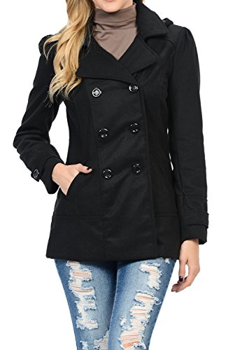 Womens Double Breasted Wool Blend Hooded Pea Coat Black M (Women Coat Hooded compare prices)