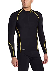 Skins A200 Thermal Long Sleeve MckNeck w zip Men's Compression Top - Black/Yellow, XS