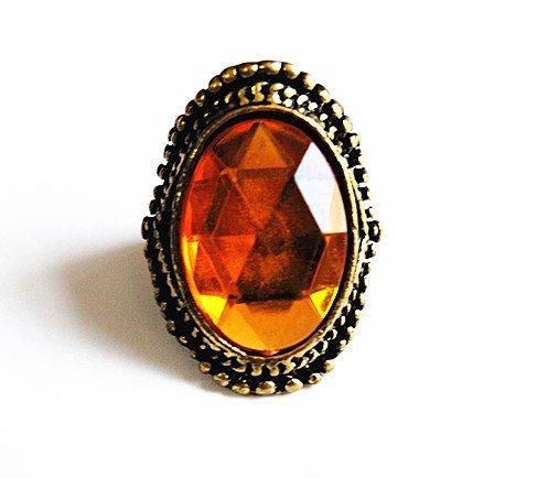 JE023 Antiker Ring, Bogen Oval Geformte Ring, Künstliche Orange Gelb Edelstein Ring,Loyal Ring