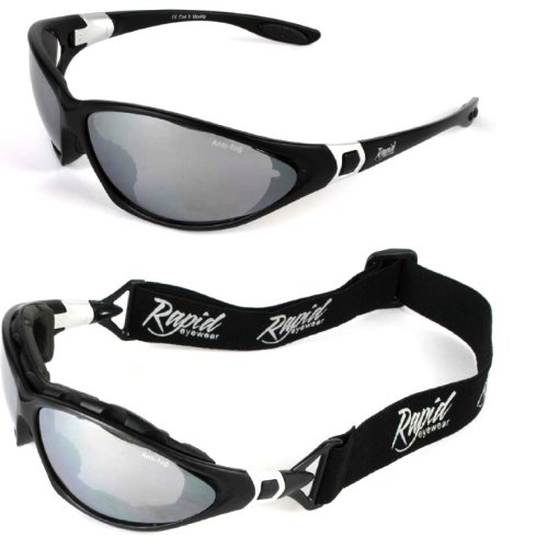 Moritz Black SKI GOGGLES / SPORT SUNGLASSES With Interchangeable Side Arms / Strap for Skiing, Climbing, Shooting, Biking, Snowboarding, etc. For Men and Women. UVA / UVB (UV400) Protection