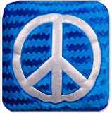 "14"" Hey Girl Wavy Peace Sign Decorative Accent Pillow - Blue & Silver"