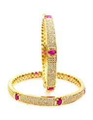 Nainika's Fashion Jewellers White & Pink Metal Bangle Set For Women