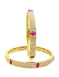 Nainika's Fashion Jewellers White & Pink Metal Bangle Set For Women