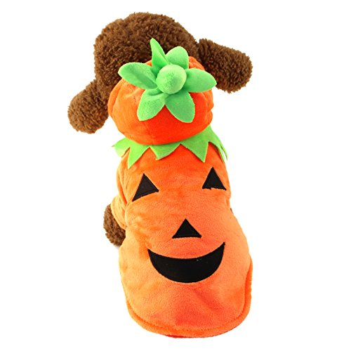 Small  Dog Cat Durable Fleece Halloween Costume - Pumpkin Pooch Hooded Orange