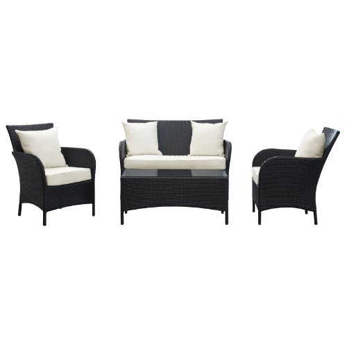 LexMod Thrive Outdoor Wicker Patio 4 Piece Sofa Set in Espresso with White Cushions
