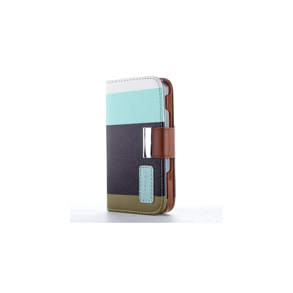 HJX iphone 4/4s Colorful Magnetic clip Wallet Pu Leather Credit Card Holder Slots Pouch Case Cover for iPhone 4 4S Blue/Black/Brown + Gift 1pcs Insect Mosquito Repellent Wrist Bands bracelet