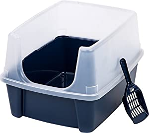 Iris Open Top Litter Box with Shield and Scoop for Cats, Navy