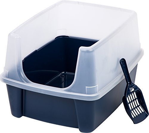 IRIS Litter Box with Shield and Scoop, Blue