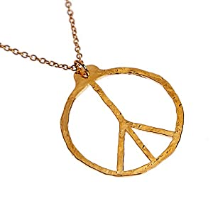 Peace Symbol Hand Hammered Delicate Gold Dipped Pendant Necklace on 18