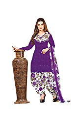 Mitra Women's Synthetic unstitched Printed Salwar Suit Dupatta Material(MISU177PU_Purple_Free Size)