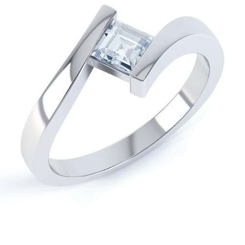 Aquamarine Square Stackable Silver Crossover Ring