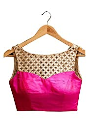Maruti Latest Pink Colour Beautiful Designer Blouse-Only Material(Unstitched Blouse)