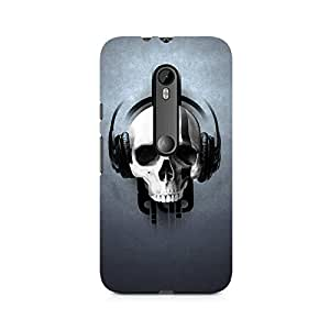 Motivatebox- Skull Sound Premium Printed Case For Moto X Play -Matte Polycarbonate 3D Hard case Mobile Cell Phone Protective BACK CASE COVER. Hard Shockproof Scratch-