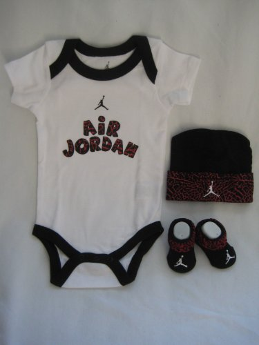 Nike Jordan Infant New Born Baby Shoulder Bodysuit, Booties and Cap 0-6 Months with