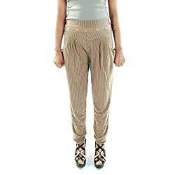 Amohaa Women's Polyster Harem Pant Beige Strip (Large)