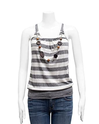 Ladies Grey White Striped Wooden Beaded Neck Chain Tank Top