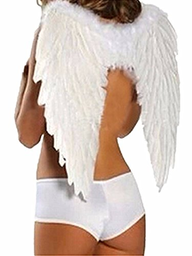 ZANZEA Women Black White Baby Feather Angel Wings For Party & Stage Perform White One Size (Black Feather Wings)