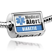 """Neonblond Beads Medical Alert Blue """"Diabetic"""" - Fits Pandora Charm Bracelet by NEONBLOND Jewelry & Accessories"""