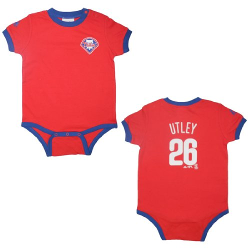 MLB Philadelphia Phillies Utley #26 Baby / Infant One-Piece Short Sleeve Bodysuit / Romper / Onesie - Red (Size: 12M ) at Amazon.com