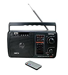 Vemax Creta Multiple Band (FM/AM/MW/USB/AUX/MMC/TV) Portable Radio With Remote, Charger & Aux Lead (Black)