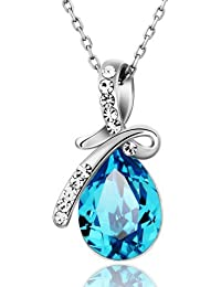 Valentine Gifts : Shining Diva 18k White Gold Plated Blue Crystal Pendant Necklace For Girls And Women | Valentine...