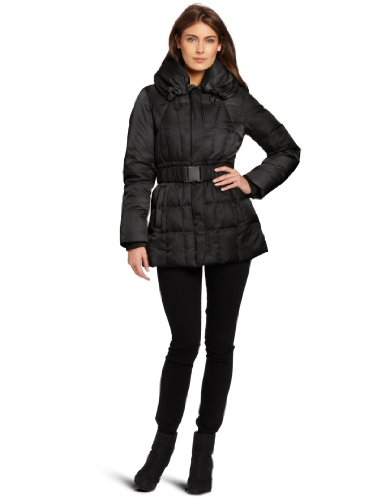 Kenneth Cole Womens Matte Satin Down Parka, Black, Large