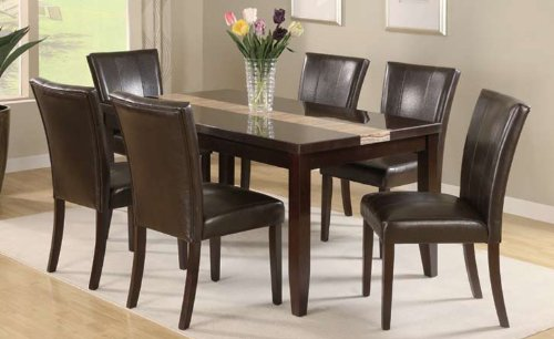 Dining Table With High Gloss Espresso Marble Veneer Top With Runner Design  And 6 Dining Chairs