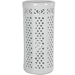 Dolomite 17-inch Carved Lattice Decorative Umbrella Stand